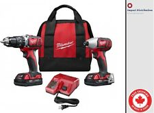New Milwaukee 2697-22CT 18V Cordless Hammer Drill and Impact Driver Combo Kit