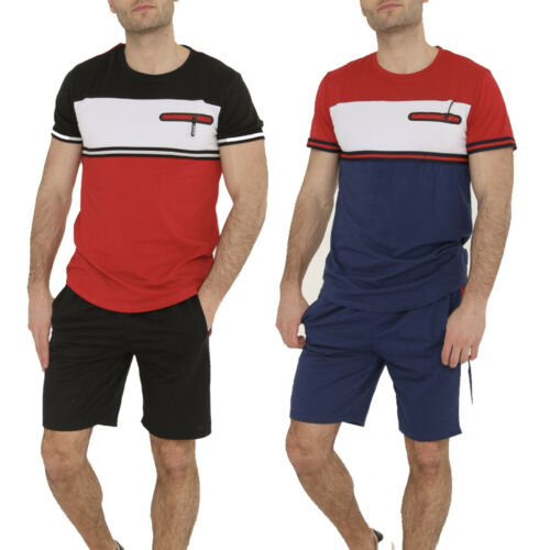 Mens Slim Fit T Shirt Shorts Set Tracksuit Zip Detail Black Red Blue Fitted