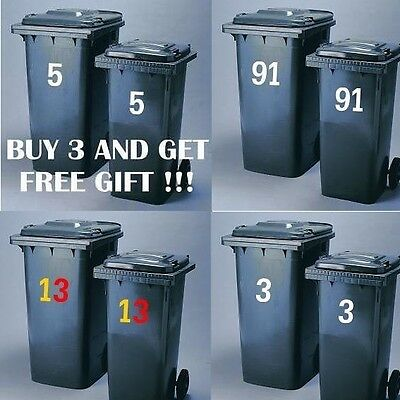 2 Pack WHEELIE BIN HOUSE NUMBERS STICKERS CAR WINDOW available in 19 colours !