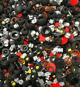 LEGO-BULK-LOT-1-POUND-OF-WHEELS-TIRES-CAR-TRUCK-VEHICLE-PARTS-AXLES-CITY-MORE