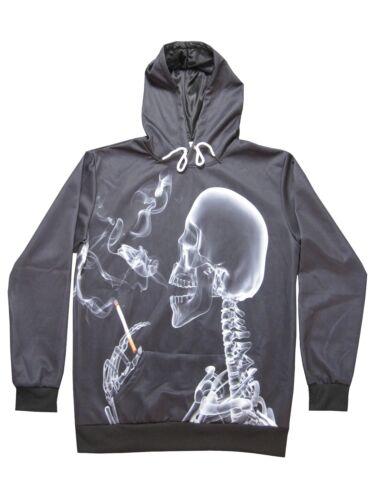 origineller 3D Langarm Kapuzenpullover-Hoodie Motiv rauchendes Skelett