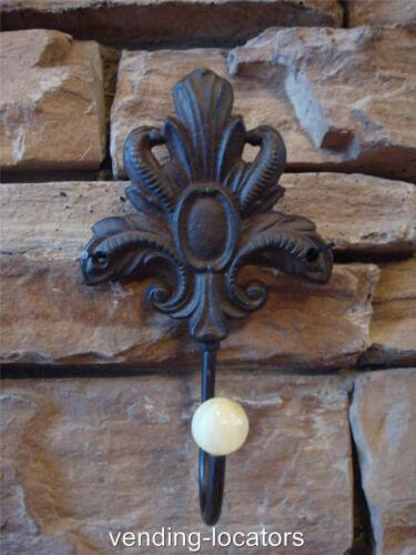 Antique-Style Double Rustic School COAT HOOK Cast Iron Wall Mount Hardware New