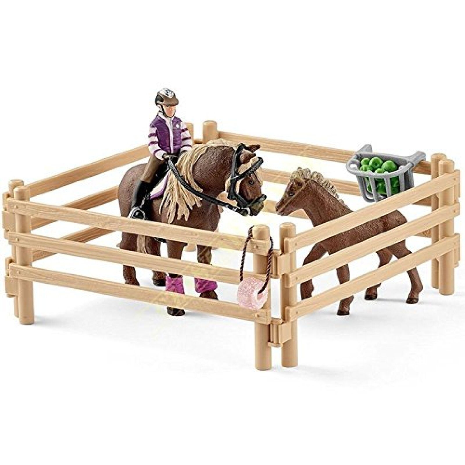 Schleich Horse Club Rider Icelandic Ponies Mare and Foal with Fence Kids Toy UK