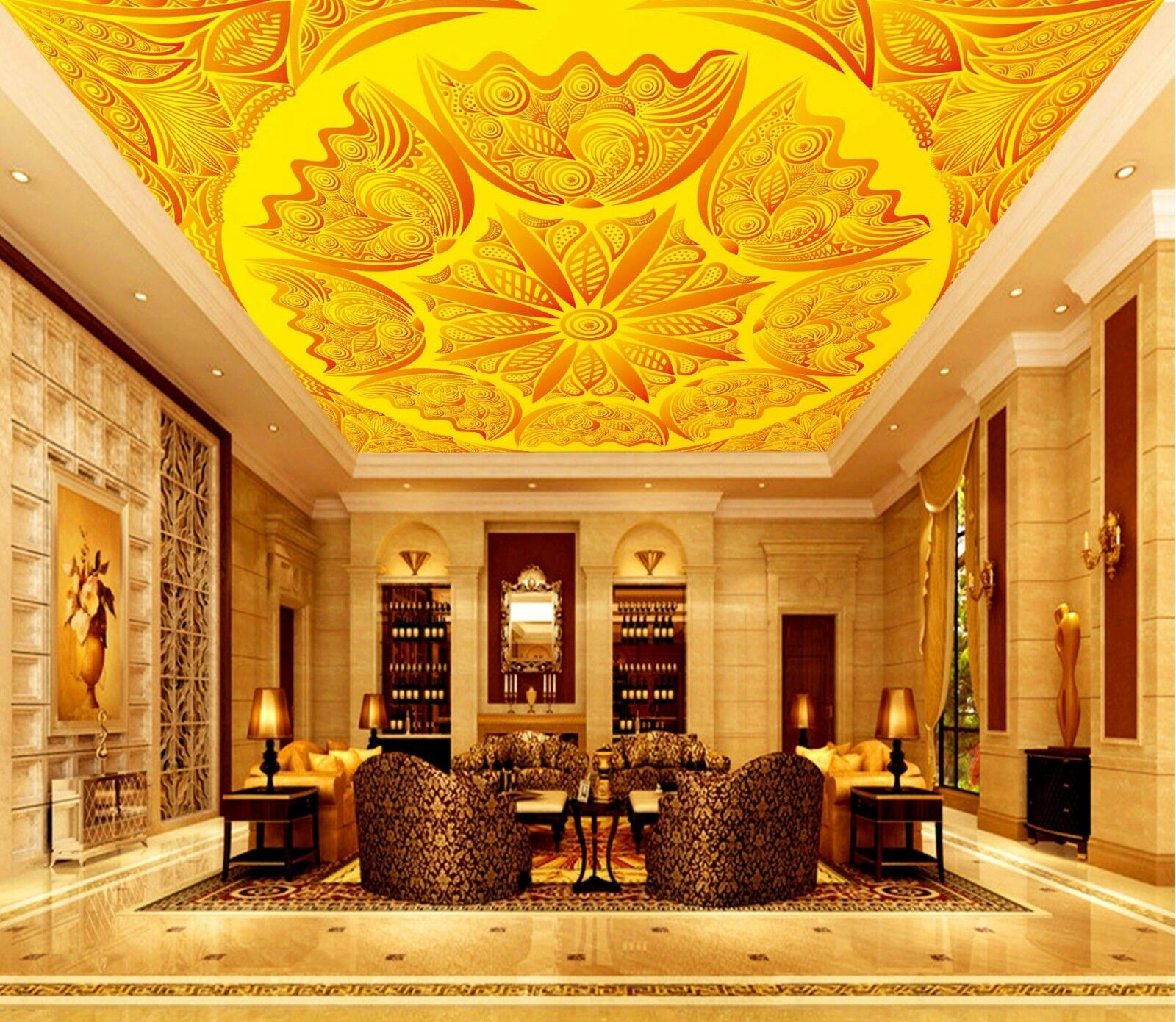 3D gold 46 Ceiling WallPaper Murals Wall Print Decal Deco AJ WALLPAPER AU