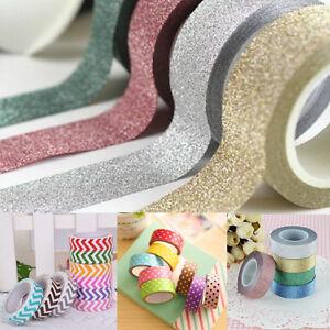 Glitter-Washi-Sticky-Paper-Masking-Adhesive-Tape-Sticker-DIY-Craft-Decoration