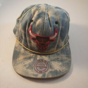 Chicago-Bulls-Snapback-Adjustable-Mens-Hat-Acid-Wash-Denim-Mitchell-And-Ness