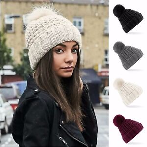 dcfe546024d Chunky Knit Winter Beanie Bobble Hat Warm Woolly Hat Faux Fur Pom ...