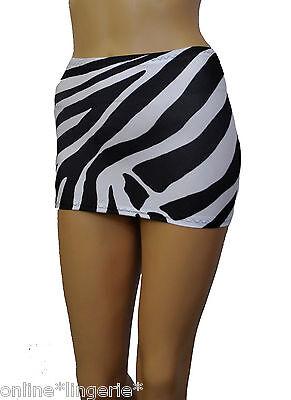 Micro Mini Skirt Short Black White ZEBRA Animal Print Lycra Party Clubwear CS143