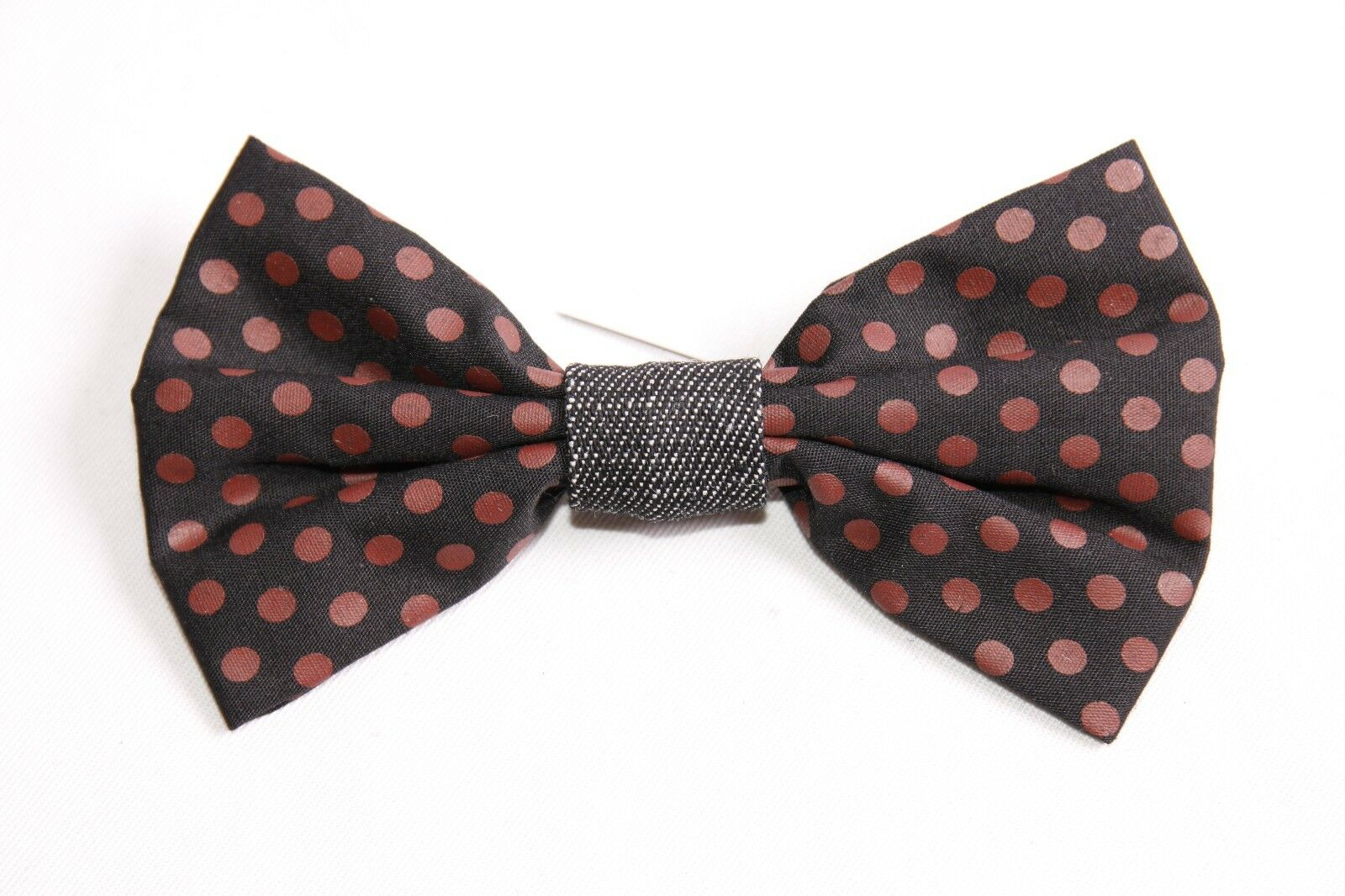 Stylish Modern Male Black Suit Bow Tie with Red Polka Dots Print (S404)