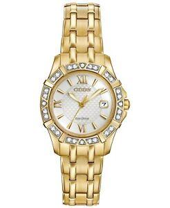 Citizen-Eco-Drive-Women-039-s-Diamond-Accents-Gold-Tone-26mm-Wrist-Watch-EW2362-55A