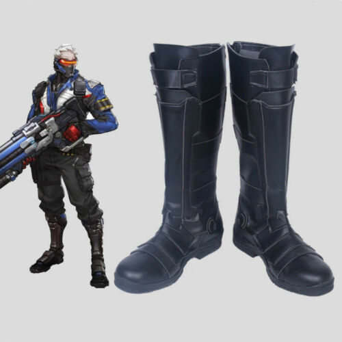 Details about  /Soldier 76 Cosplay Costume Boots Game Shoes black costom made Free shipping