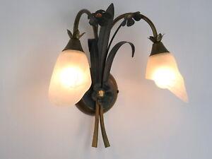 Applique classico rustico country ferro battuto floreale verde oro
