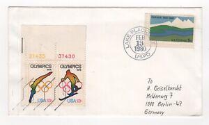 1980 cubierta de eventos de EE. UU. Juegos Olímpicos de Invierno Lake Placid a Berlín Alemania número de canalón