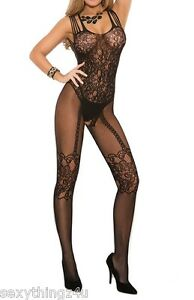 BLACK-SLEEVELESS-034-SUSPENDER-LOOK-034-BODY-STOCKING-Choose-Size-8-10-12