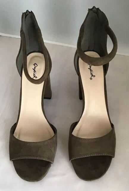 New Women HOTSOLES Ferret Faux Suede Peep Toe Caged Block Heel Sandal