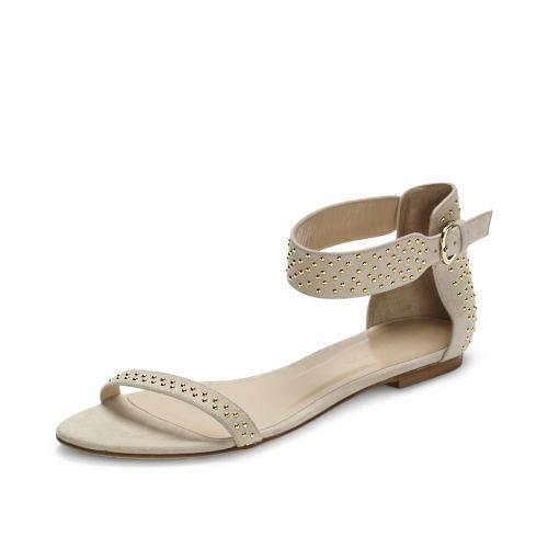 229 Nuovo Club  Monaco Light Beige NUDE Hayley Flats Ankle Strap Sandals scarpe 39  vendita calda