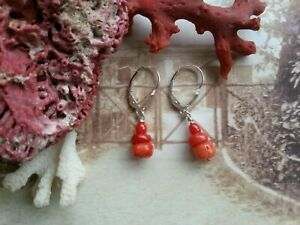Antique-vintage-carved-natural-CORAL-BEADS-EARRINGS-pitted-salmon-unique-gifts