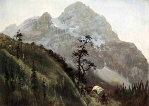 Art-Oil-painting-Western-Trail-the-Rockies-Oxcart-in-mountains-canvas-24-034-x36-034