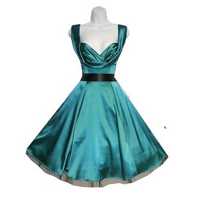 H & R London Green Jade Satin Dress 50s Pinup Rockabilly Retro Vintage isp 6842