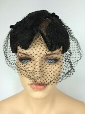 Vintage Black Birdcage Veil Net Cocktail Headpiece Funeral Fascinator Hat EUC