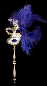 Maschera Di Venezia Per Bastone Piume Struzzo Viola-Oro-Carnevale venitien-1433