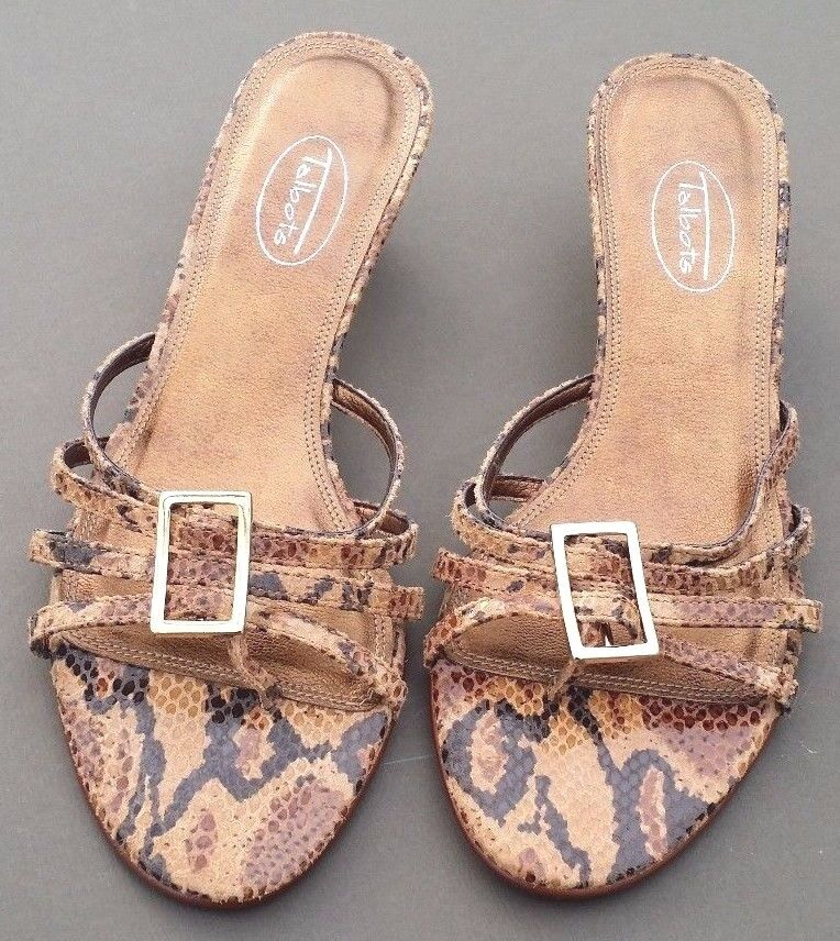 Talbots Thong Sandals Leather Reptile Print  Slide On shoes goldtone Buckle 7N