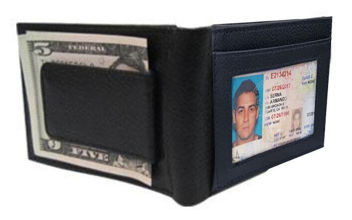 BLACK MEN'S LEATHER MAGNETIC MONEY CLIP Front Pocket Bifold Wallet