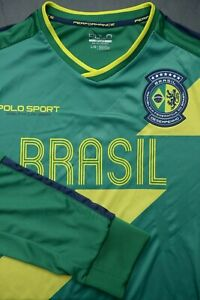 Polo Ralph Lauren Men's Sport Performance V Neck Poly Brazil Soccer Jersey L