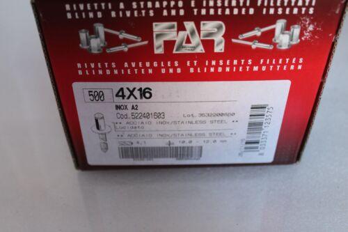 500 Blindnieten 4x16 Edelstahl A2 Flachrundkopf im Karton DIN 7337 ISO 15983 4,0