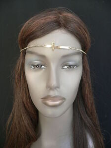 Women-Gold-Metal-Cross-Head-Band-Chain-Religious-Circlet-Weekend-Fashion-Jewelry