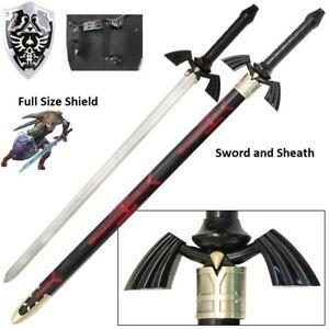 Legend-of-Zelda-BOTW-Dark-elf-Link-Master-sword-and-shield-set-elven-Real-Steel