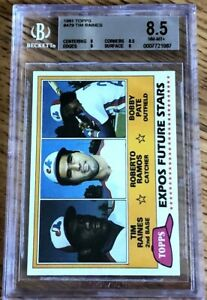 Tim Raines 1981 Topps Rookie Card RC #479 graded BGS PSA 8.5 NmMt Montreal Expos