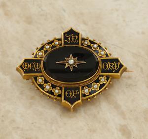 Victorian-15ct-Oro-Amarillo-luto-Perla-y-Negro-Onyx-Broche