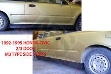 1992 1995 Honda Civic COUPE / HATCHBACK  M3 Style SIDE SKIRT Plastic Unpainted