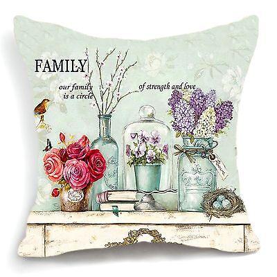 Retro Vintage Purple Flower Green Vase Decorative Pillow Case Cushion Cover 18''
