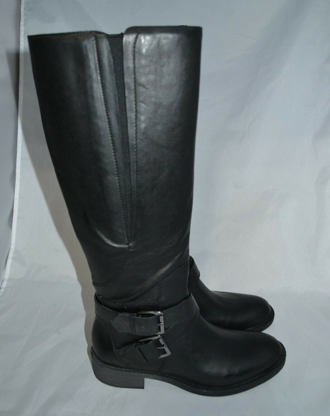 Enzo Angiolini Women BUCKLE SPORTY Black Tall Riding Leather Boots Size 6.5  189