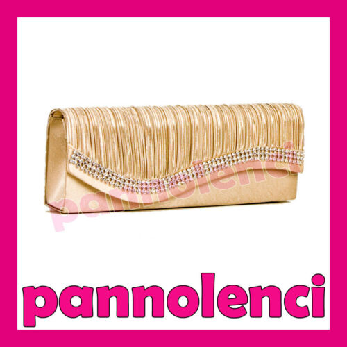 Borsa donna Pochette handbag raso baguette STRASS clutch tracolla 89307