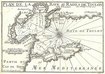 Antique map, Plan de la Baye et Rades de Toulon | eBay
