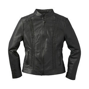 Indian Motorcycle Women's Leather Charlotte Casual Jacket, Black