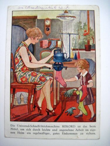 "Vintage German Advertising Post Card for ""REKORD Stitching Machine"""
