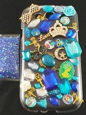 USA DIY 3D Bling Cell Phone Case Deco Blue Owl Rhinestones Pearl