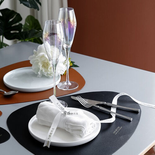 Leather Heat Resistant Placemats Kitchen Dining Table Mats with a small Coaster