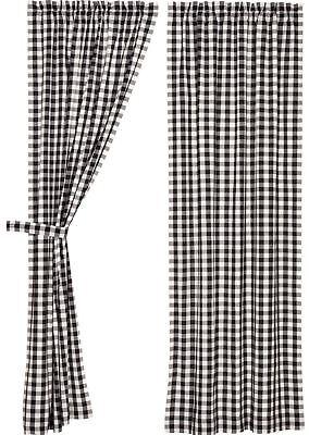 "84/"" L Gray White Farmhouse Curtains Cotton Lined Tie Backs Annie Buffalo Check"