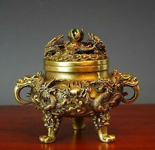 Collectible Chinese Brass Nine Dragons Kowloon incense burner