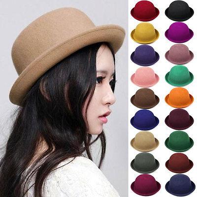 Fashion Women Wool Hat Felt Cloche Vintage Trendy Cute Ladies Derby Bowler Cap