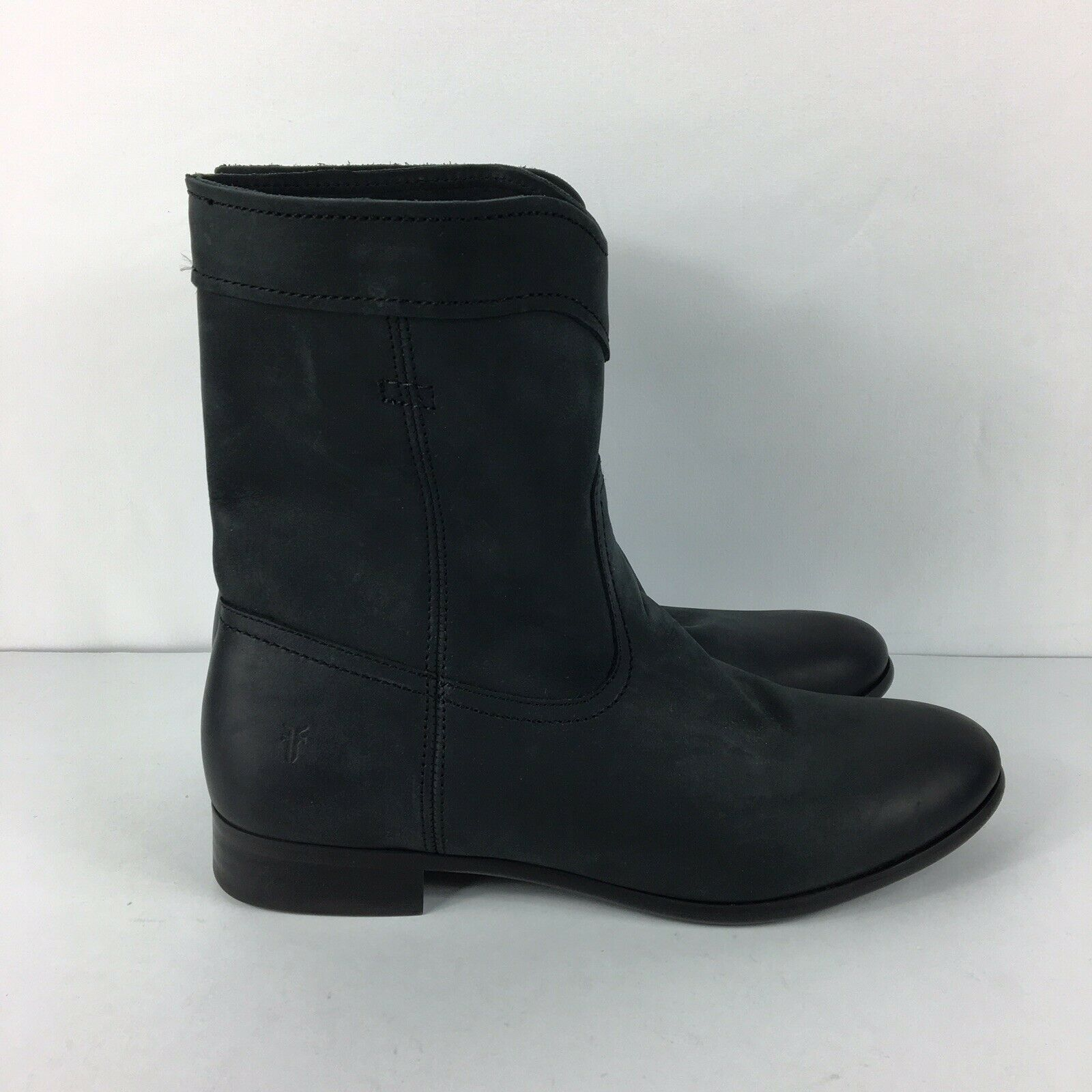 Frye Cara Roper Short Riding Boots Womens Leather Cowboy Round Toe Black Sz 8.5