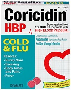 Coricidin HBP Cold and Flu Tablets, 10 Count