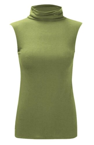 Womens Sleevelees Slim Fit Stretch Turtle High Polo Neck Vest Top Plus Size 8-22