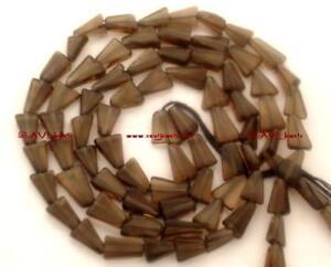 """Smoky Quartz 9-10mm long x 6-7mm wide Triangle Beads 14.5"""" str - Unique Shape"""