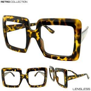 Oversized-Big-RETRO-Thick-Leopard-Square-Lensless-Eye-Glasses-Frame-Only-NO-Lens